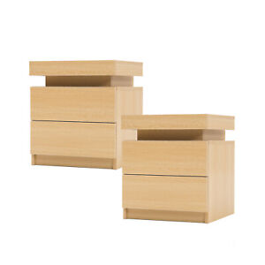 2x LaBella Bedside Tables 2 Drawers RGB LED Cabinet Nightstand Gloss OAK