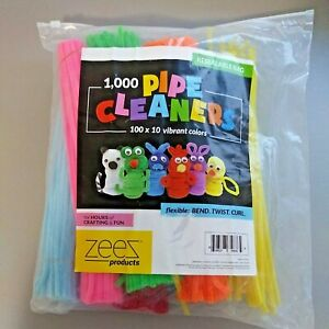 """Open Bag of Pipe Cleaners Vibrant Colors by ZEEZ 12"""" Long Pink Yellow Blue Red"""