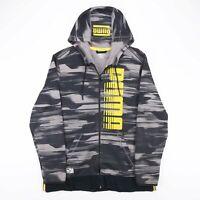 PUMA Grey & Black Large Print Spellout Full Zip Sweatshirt Hoodie Men's Size L