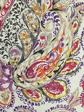 Cynthia Rowley Eaton Paisley Fabric Shower Curtain Purple Yellow Tan