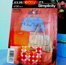 Simplicity 4736 Easy Handbag Tote Purse Sewing Pattern 2 Styles