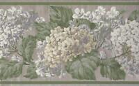 Wallpaper Border White Lavender Beige Hydrangeas on Taupe With a Green Border