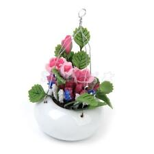 1:12 Dollhouse Miniature Garden Pink Rose Flowers in a White Ceramic Hanging Pot