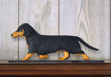 Dachshund Smooth Dog Figurine Sign Plaque Display Wall Decoration Black & Tan