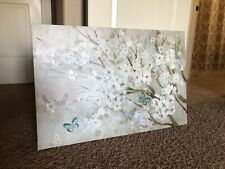 New 3' by 2' butterfly and flower painting on wood framed canvas.
