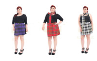 """Plus Size Ladies Tartan Pleated Wrap Over Buttoned Kilt Skirt 18"""" Inches Skirts"""