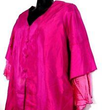NEW Bardot Women's Dressy Blouse XL Hot Pink Poly Silk Party Top Side Slit Tunic