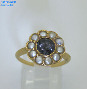 VINTAGE 1CT ALEXANDRITE & SEED PEARL 18K GOLD DAISY RING UK SIZE M & USA SIZE 6