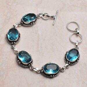 Blue Topaz Ethnic Handmade Bracelet Jewelry 18 Gms AB 74202