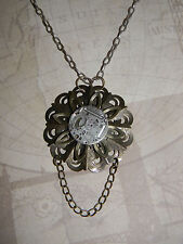 Steampunk Necklace Victorian Style Filligree Rotating WatchMovement Cosplay OOAK