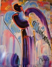 PETER MAX POSTER -ABSTRACT ANGEL 1990 COOL AND COLORFUL-FACSIMILE SIGNED #82