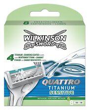 Wilkinson SWORD QUATTRO TITANIUM sensible Cuchillas de Afeitar Paquete de 8
