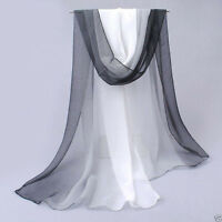 New Women's Black White Gradient Chiffon Soft Long Beach Shawl Wrap Scarf Stole
