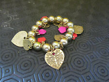 Brass Tone Hearts & Roses Elasticated Bead Bracelet