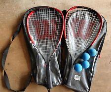 """Set Of 2 Wilson All Gear Racquetball Set Fire XT 3-7/8"""" Racket, Balls"""