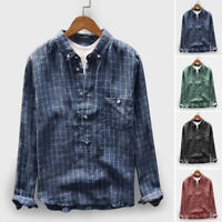 100%Cotton Men's Long Sleeve Shirt V neck Causal Henley Tops Slim Blouse Tee UK