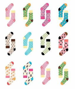 Women's Mens Cotton Socks Casual Long Liner Soft Funny Bright Patterned Knitted