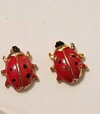 2-Ladybug Tie Tack Hat Pins Red Black Gold Tone