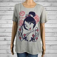 Junk Food Disney Mulan Oversized Loose Fit T-shirt Top SMALL Gray Cotton