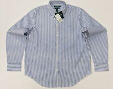 Lauren By Ralph Lauren NON IRON Women's Stripe Shirt In Light Blue Size L