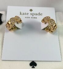 Kate Spade Gatsby Dot Huggies Clear Crystal Gold Earrings & Dust Bag