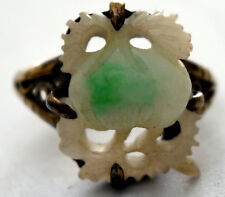 Vintage Chinese Hand Carved Pomegranate Jade and Silver Ring Size 7
