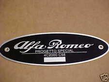 Alfa Romeo Progetto Special 4C2000-C58 Data Plate Acid Etched Aluminum