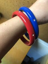 Set of 2 Vintage Lucite Bangle Bracelets Blue Red w/ Rhinestone Accents 1960s