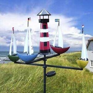 Schiffskarussell Regatta mit Beleuchtung LED Leuchtturm WINDRAD Windspiel Solar