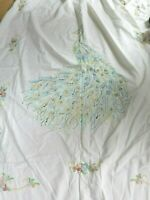 VINTAGE EMBROIDERED PEACOCK BEDSPREAD COVERLET FULL DOUBLE FRINGE