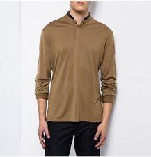 The KOOPLES - T-shirt XL tunisien marron col cuir noir  NEUF 140€