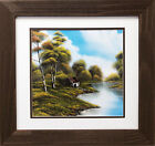 """Bob Ross """"Cabin by the River"""" Happy Trees CUSTOM FRAMED ART Nature  Print Forest"""