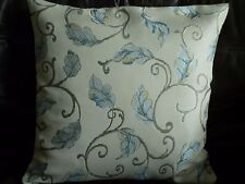 "16"" BLUE SWIRLY LEAF CUSHION COVER MADE WITH DUNELM FABRIC"