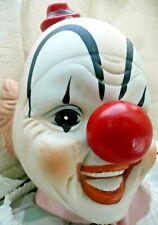 Vintage SCARY CLOWN Creepy Big Hands Bisque Head Big Red Nose HALLOWEEN PROP