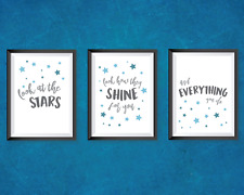 Nursery bedroom prints set of 3 - Coldplay lyrics quotes - grey and blue decor