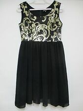 LADIES BLACK AND GOLD DRESS SIZE 10 + FREE  TOP SIZE 10 + FREE GIFT
