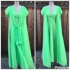 Vintage 60s Seafoam Green Gown Robe By Lucie Ann Of Beverly Hills Nightgown Set