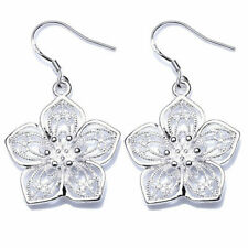 "NEW - SILVER - ""FLORAL DESIGN"" - DROP-DANGLE - FASHION EARRINGS"