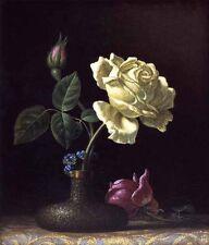 Oil Martin Johnson Heade - The White Rose in copper vase on the table no framed