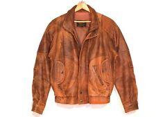 Reed VTG distressed brown leather bomber jacket / men 40 - fits Med / #b7