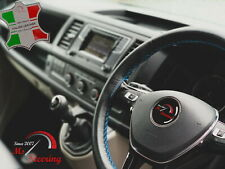 FOR IKCO ARISUN -BLACK STEERING WHEEL COVER LIGHT BLUE STITCH