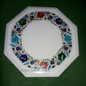"12"" Marble Octagon Center Table Top Semi Precious Inlay Floral Pattren Art"