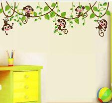 Monkey Jumping Vine Wall Sticker Decal Kids Baby Room Mural Paper Home Art Decor