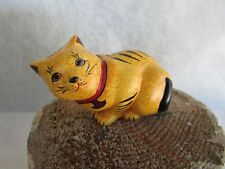 Franklin Mint Curio Cabinet Cat - Hand Painted Chalkware Cat - 1988