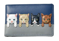 Cat Card Holder Wallet by MALA Leather Blue Ladies Credit Photo ID Mini Wallets