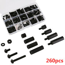 260pcs Nylon M3 Hex Spacers/Screws/Nuts Stand-off Kit Box for PCB Board Blacks