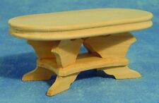 Bare Wood Oval Table, Dolls House Miniatures, 1.12 Scale Furniture
