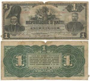 "1904 REPUBLIC of HAITI Une Gourde Note ""COMMEMORATIVE"" 100 Years of INDEPENDENCE"