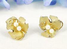 Vintage LADY ALICE 12K Gold Filled Leaf Earrings Brushed Gold Pearls Screw Back
