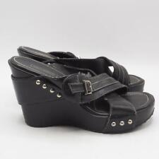 Harley Davidson Black Leather Heeled Sandals 8M